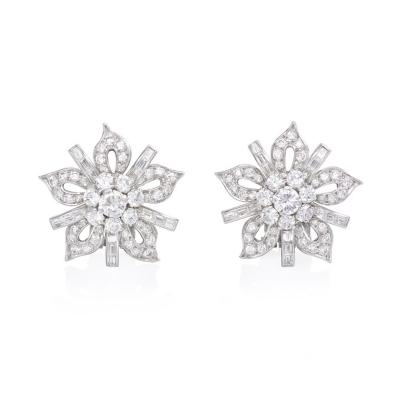 1950s Diamond and Platinum Flower Head Clip Earrings