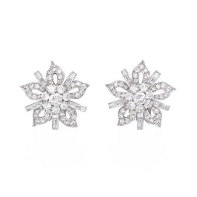 1950s Diamond and Platinum Flower Head Earclips