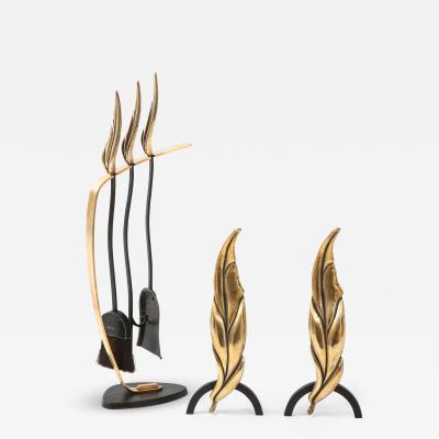 1950s Flamed Leaf Brass Fireplace Tools With Matching Andirons