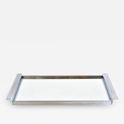 1950s French Art Deco style chrome and mirror tray