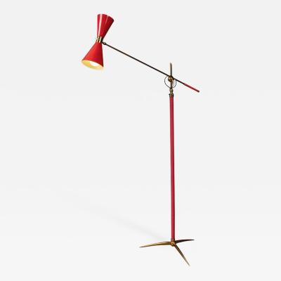 1950s French Red Articulating Floor Lamp