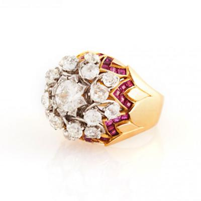 1950s French Ruby Diamond and Gold Bombe Ring