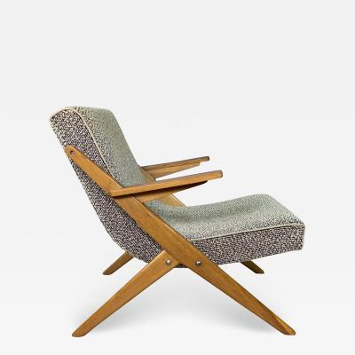 1950s French Scissor Leg Upholstered Lounge Chair