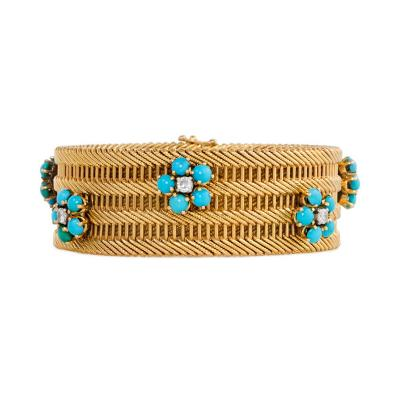 1950s French Woven Gold Bracelet with Turquoise and Diamond Flower Clusters