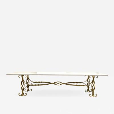 1950s French Wrought Iron Gold Coffee Table with Quartz Top