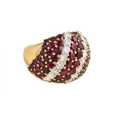1950s Gold Ruby and Diamond Bomb Ring