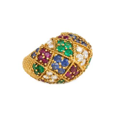1950s Gold and Multi Gemstone Harlequin Style Ring