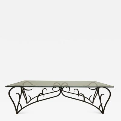 1950s Iron Chipped Edge Glass Top Coffee Table