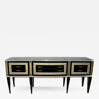 1950s Italian Art Deco Style Black Glass Sideboard with White and Bronze Insets