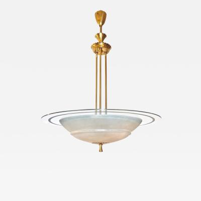 1950s Italian Brass and White Frosted Murano Glass Saucer Chandelier Pendant