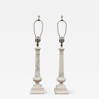 1950s Italian Carrara Marble Table Lamps