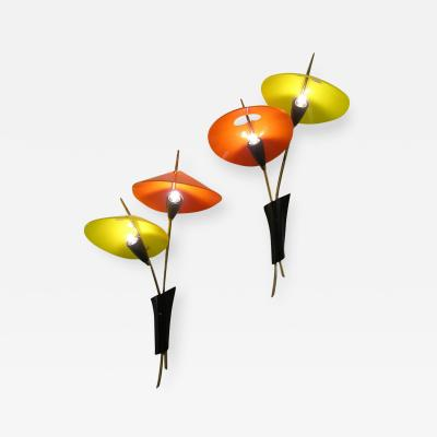 1950s Italian Pair of Whimsical Orange and Yellow Sconces