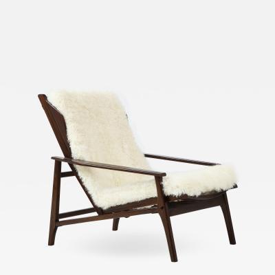 1950s Italian Reclining Lounge Chair in Lamb Fur