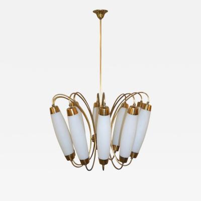 1950s Italian Vintage Stilnovo Style White Glass Ten Light Brass Chandelier