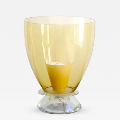 1950s Italian Vintage Yellow Gold Murano Glass Round Lamp
