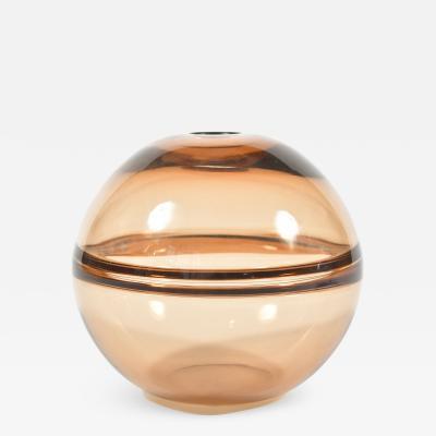 1950s Italian bronze Murano globe vase