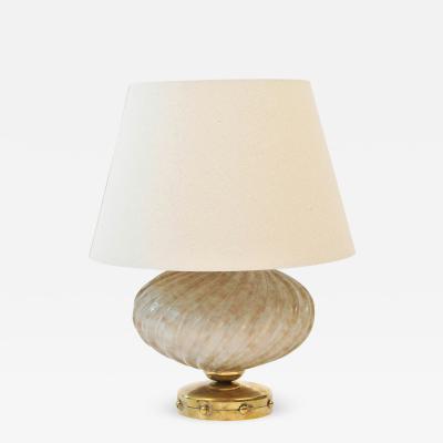 1950s Italian mottled cream turban lamp