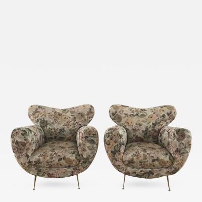 1950s Large Pair of Italian Armchairs
