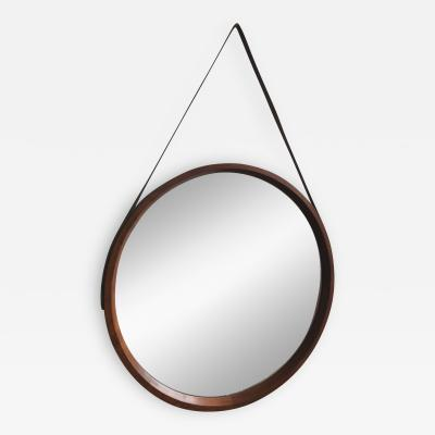 1950s Large Wood Round Mirror