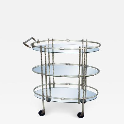 1950s Mid Century Modern 3 Tier Solid Brass Italian Bar Cart