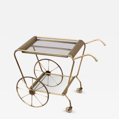 1950s Mid Century Modern Solid Brass Italian Bar Cart