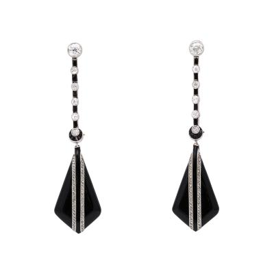 1950s Onyx and Diamond Drop Earrings