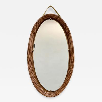 1950s Oval Mirror in Rattan