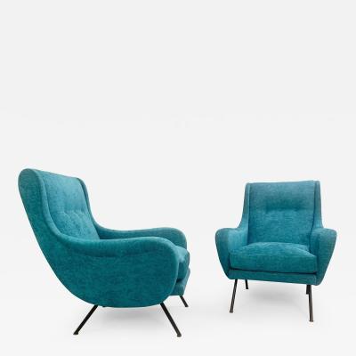 1950s Pair Of Italian Turquoise Armchairs