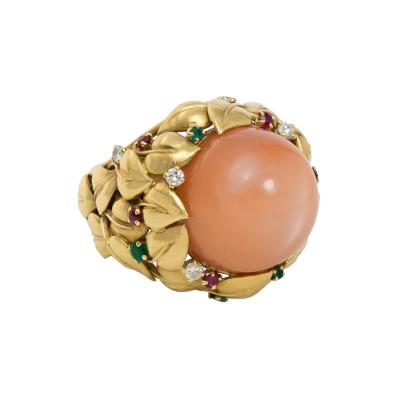1950s Pink Moonstone and Multi Gem Cocktail Ring of Foliate Design