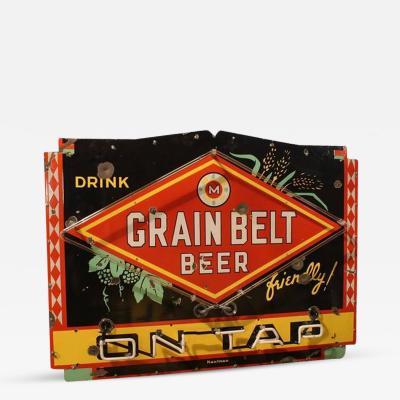 1950s Porcelain Neon Sign Drink Grain Belt Beer on Tap