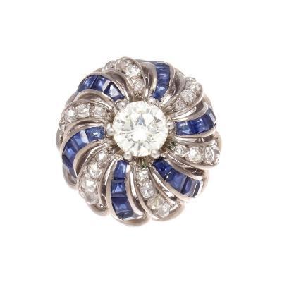 1950s Retro 1 07 Carat Diamond Sapphire Platinum Ring