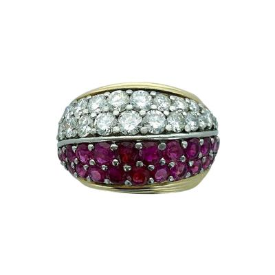 1950s Ruby Diamond Gold Platinum Ring