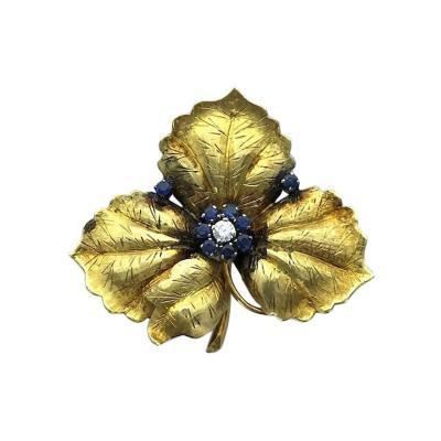 1950s Sapphire Diamond Gold Flower Brooch