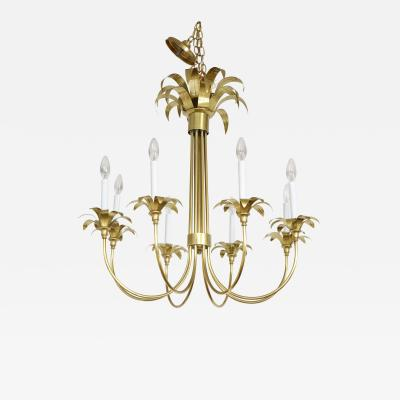 1950s Solid Brass Eight Arm Italian Flower Chandelier