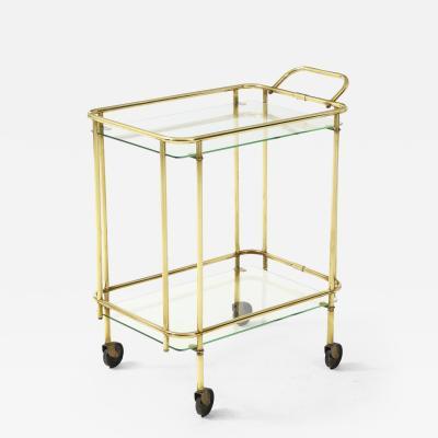 1950s Solid Brass Italian Two Tier Bar Cart