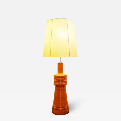 1950s Vintage Orange Ceramic Lamp