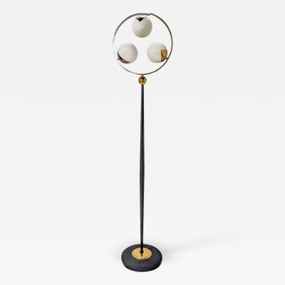 1950s black steel brass and engraved opaline floor lamp