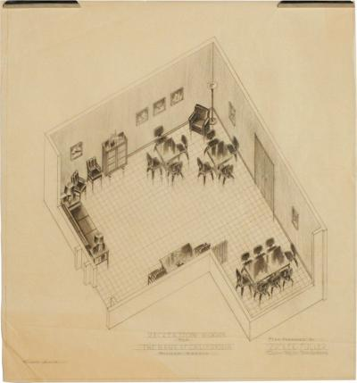 1955 Recreation Room Architectural Rendering prepared by Rucker Fuller
