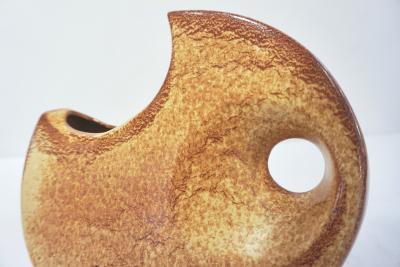 1960 Bertoncello Italian Vintage Abstract Sculpture Brown Red Beige Ceramic Vase