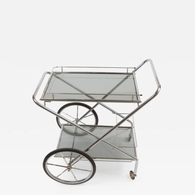 1960 s French chrome and glass drinks trolley
