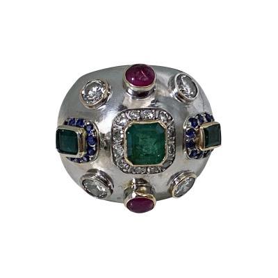 1960 s Sputnik Gold Diamond and Gemstone Ring