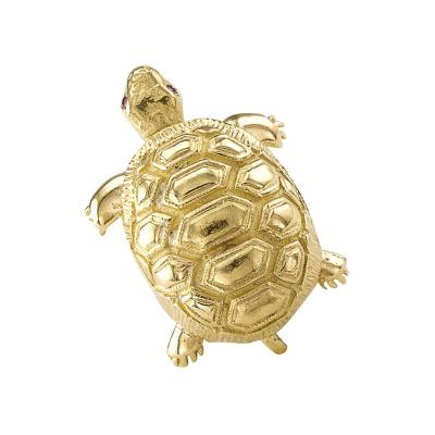 1960s 18 Karat Gold and Ruby Turtle Brooch