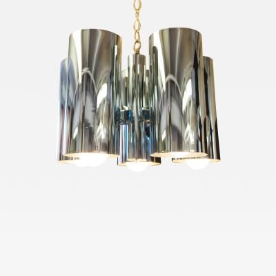 1960s Architectural Chrome Robert Long Chandelier
