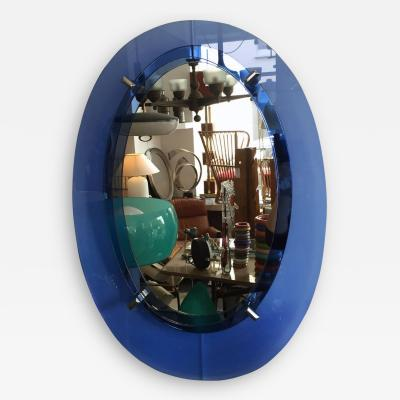 1960s Blue Irregular Oval Mirror
