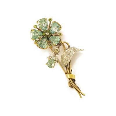 1960s Blue Zircon and Diamond Flower Gold Brooch