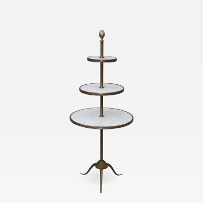 1960s Brass And Carrara Marble 3 Tier Display Shelf