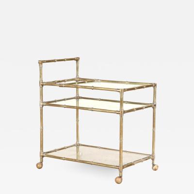1960s Brass Faux Bamboo Three Tier Bar Cart