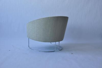 1960s Chrome Base Curved Lounge Chairs