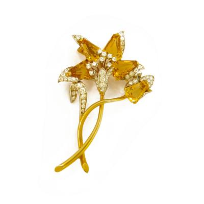 1960s Citrine and Diamond Flower Gold Brooch
