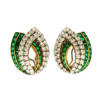 1960s Emerald and Diamond French Earrings